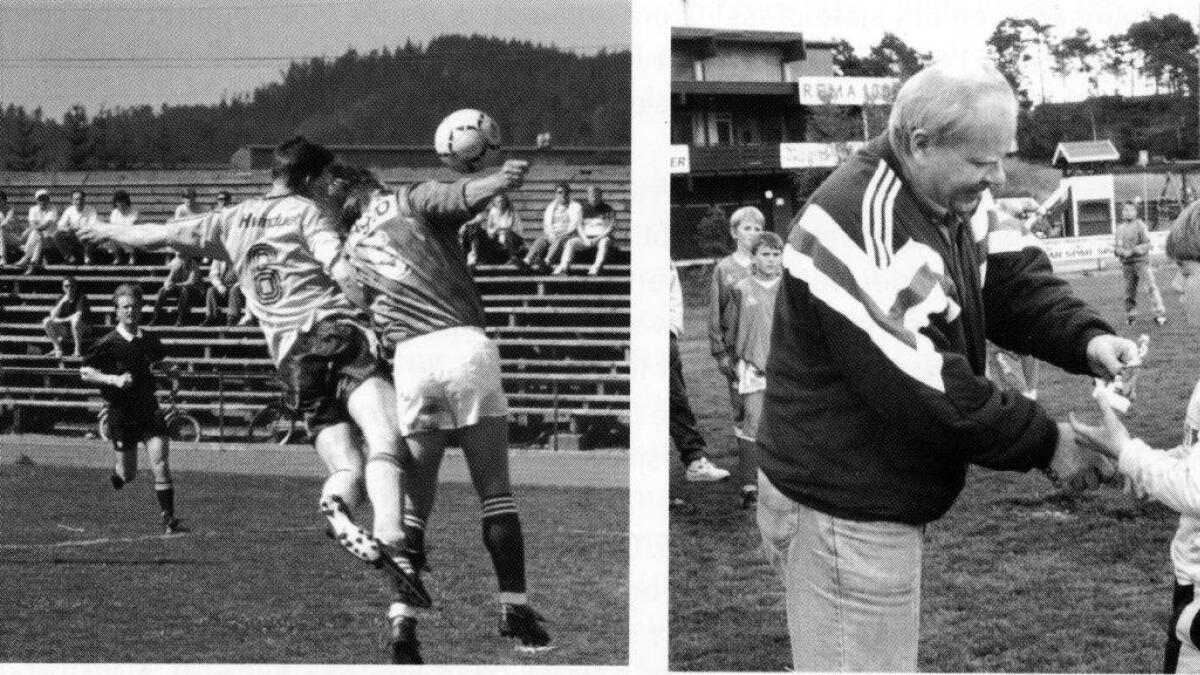 T.v. - Audun Berntsen i kamp mot Klepp i 2. divisjon. T.h .- NFF-president Odd Flatum deler ut pokal til Os-spelaren Tommy Hjelle under Gatecupen i 1994.
