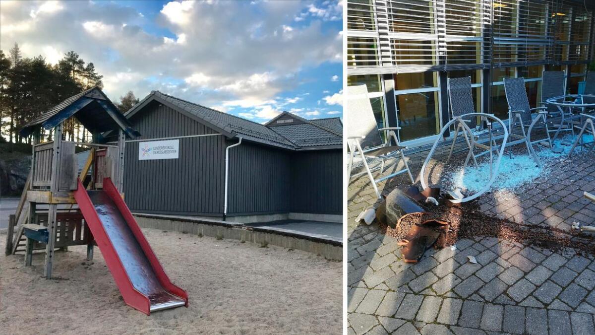 Slik så det ut da de ansatte kom på jobb på Lunderød skole mandag.