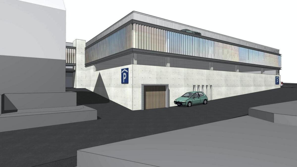 Slik ser Sunnhordland Eiendomsinvest AS for seg at eit nytt parkeringshus der Turnhallen står i dag kan sjå ut.