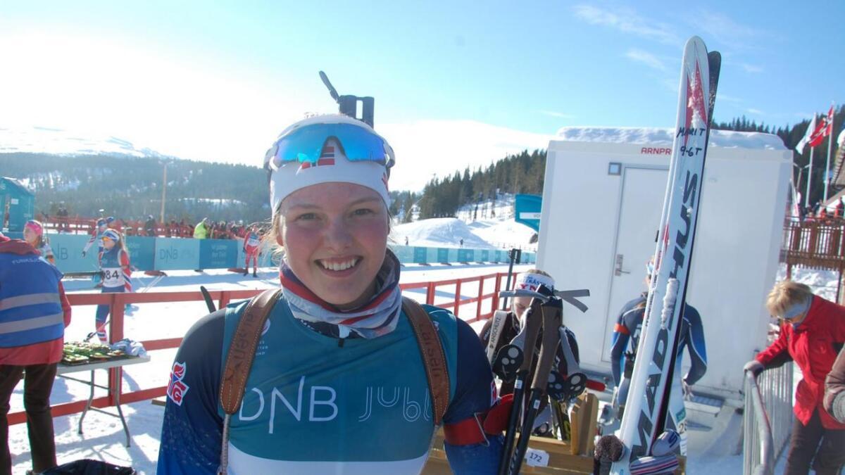 Mari Torsteinsrud vann J19 under rulleskisprinten på Geilo laurdag.
