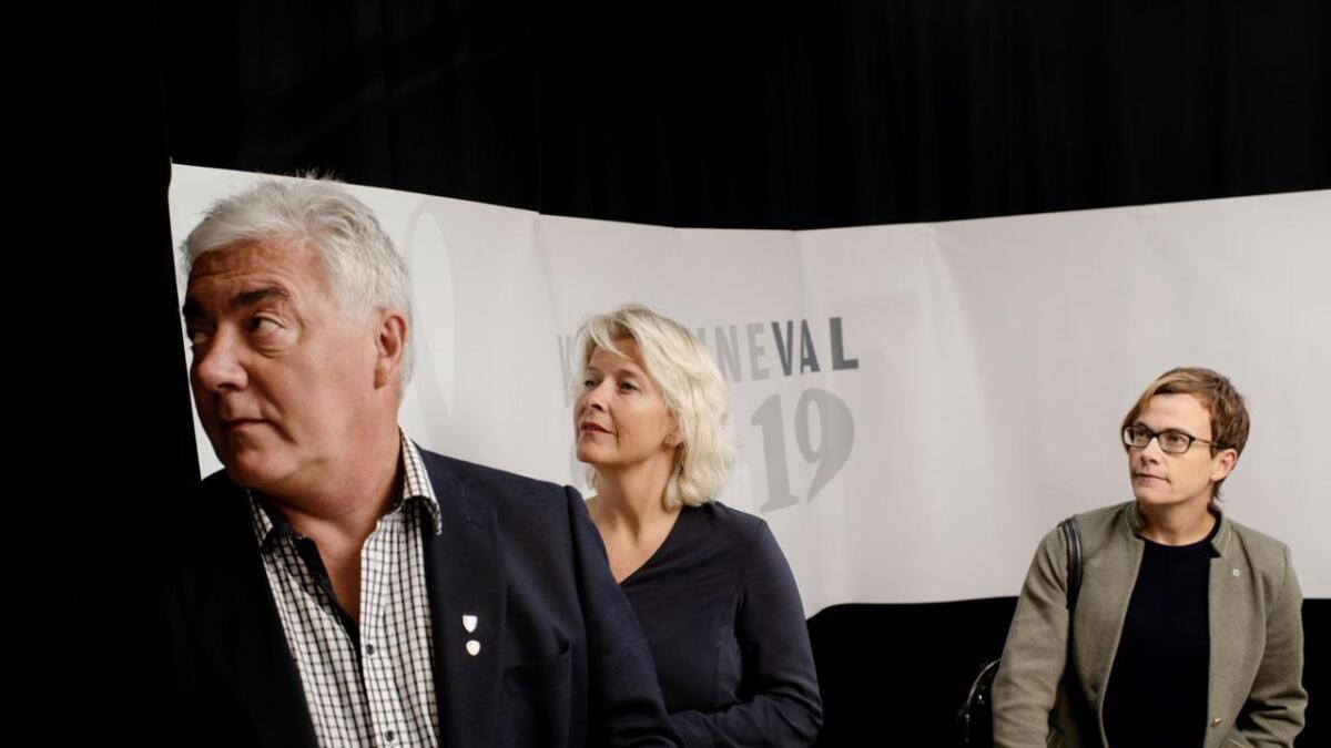 Sigrid Simensen Ilsøy (t.h) og Sp vart den store valvinnaren. Hanne Haatuft (H) og Petter Rukke (Ap) fekk begge seks mandat kvar.