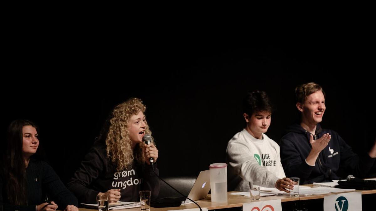 Det var tre lokale ungdomspolitikarar i panelet under skuledebatten ved Ål vgs. F.v. Sigrid Lien Sagabråten (Sp) frå Nes, Margit Fausko (MDG) og Patrick Løkken (V) frå Hemsedal. T.h. Thomas Jensen (H)).