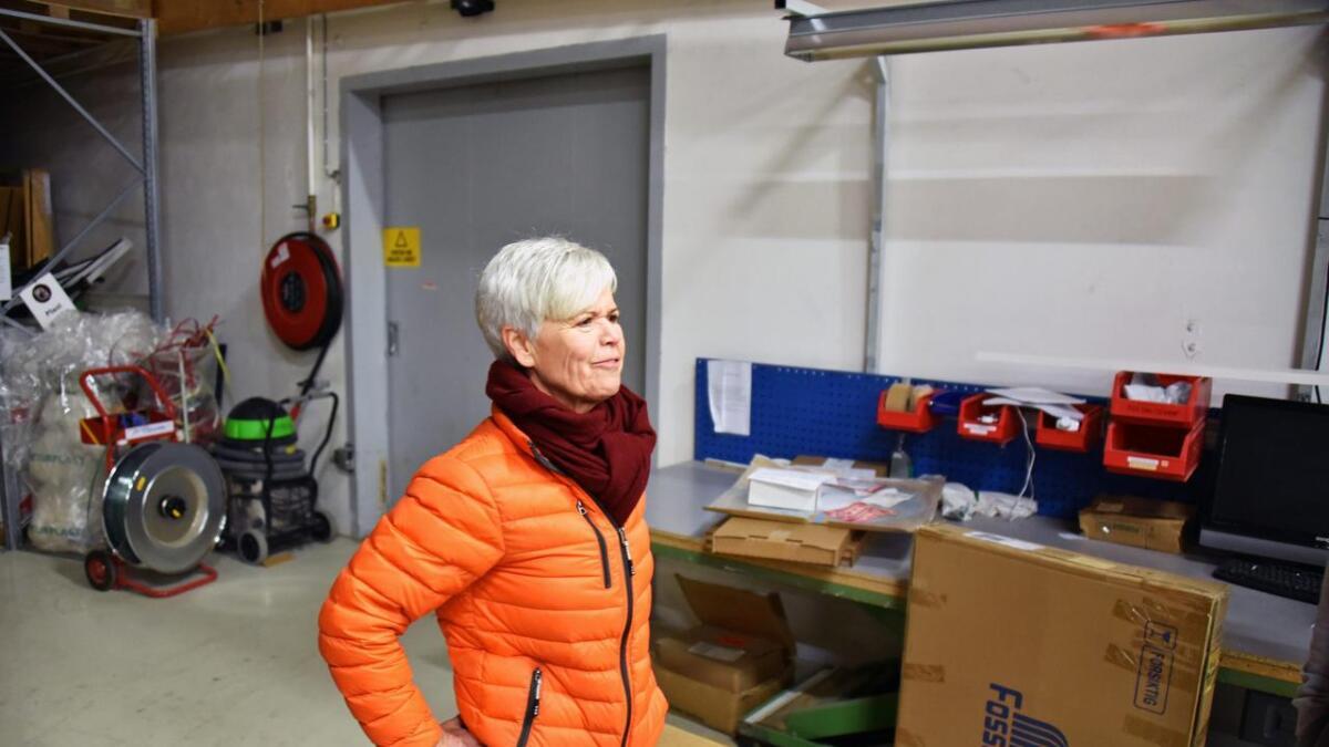 Arbeidende styreleder Tone Foss By på Foss Fabrikker.