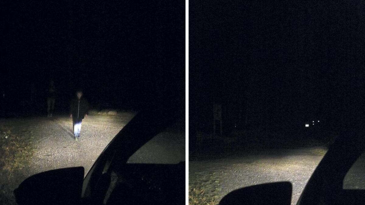 Det er ganske mange meter i skilnad på kortid ein bilist oppdagar ein fotgjengar med og utan refleks. (Ill.foto)