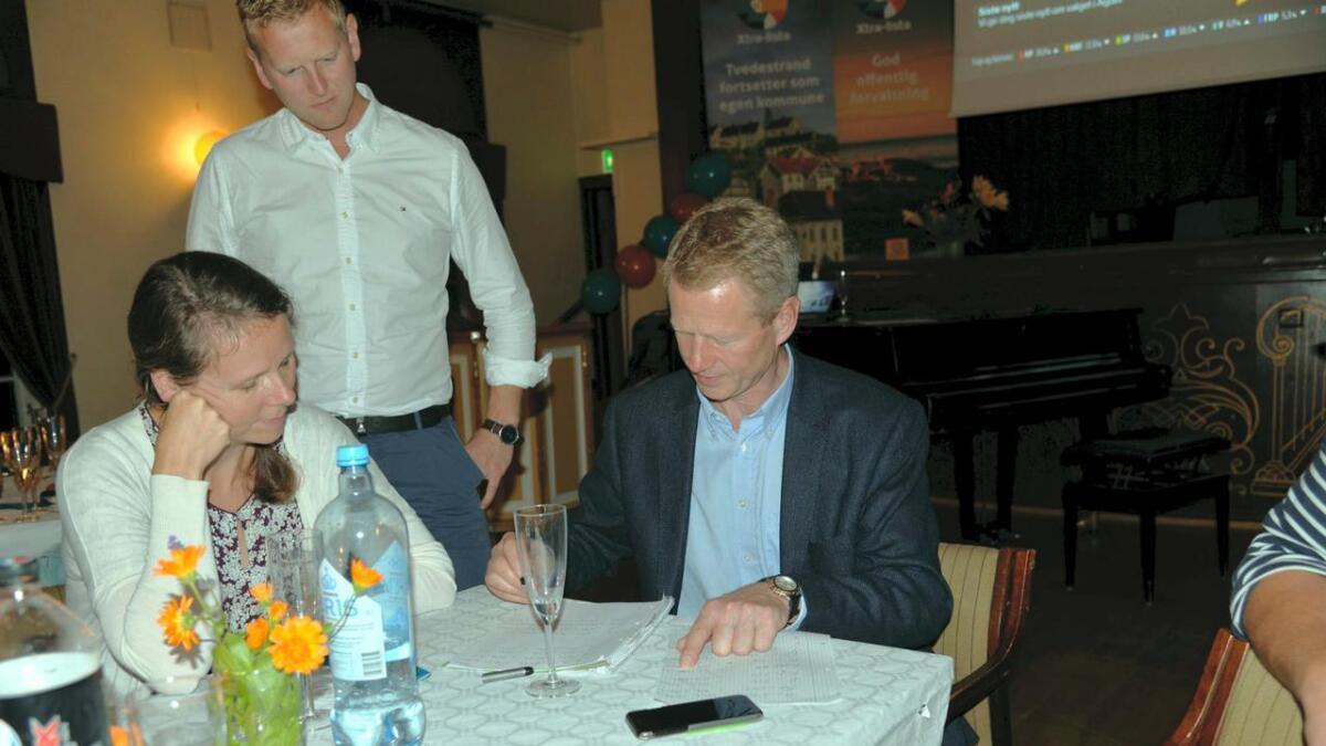 Knut B. Aall fra den nye Xtra-lista finregner og kommer til fire mandater. Krister Moen og Ingeborg Marcussen Hübertz følger med.