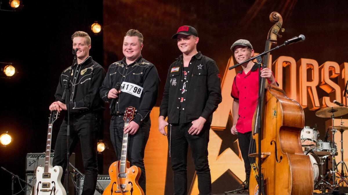 Dei fire vossingane er med i årets sesong av Norske Talenter. Jakob Sjøtun (t.v.), Sondre Hegg, Eivind Styve og Sondre Styve.