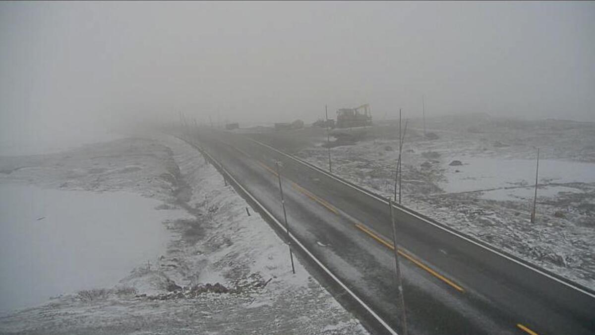 Riksvei 7 over Hardangervidda er fredag morgen stengt på grunn av uvær. Bildet er tatt ved Dyranut.