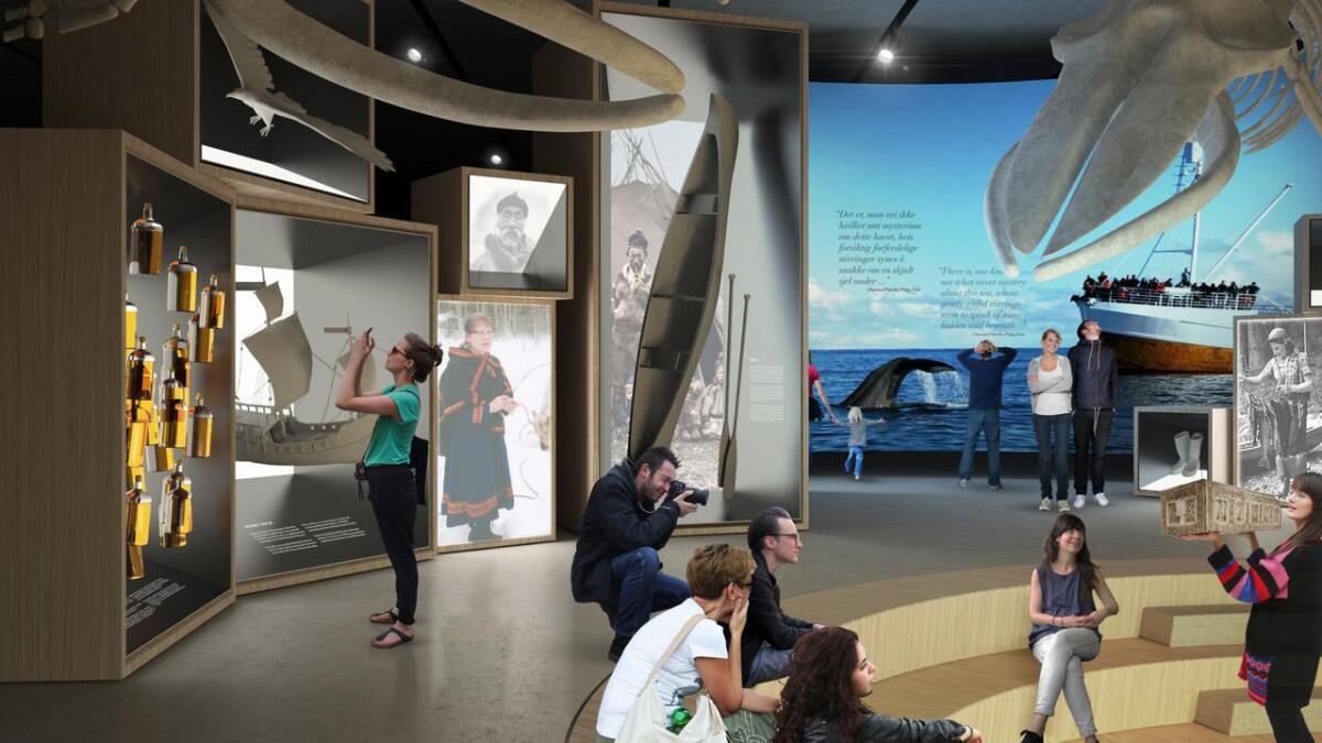 De første idéeskisssne som viser hvordan innsiden av The Whale kan se ut. Ideskissene er designet av Ralph Appelbaum Associates (RAA). RAA er et av verdens fremste firma innen utstillingsdesign og har vært med i prosessen med å utforme de første illustrasjonene på opplevelsen i The Whale.