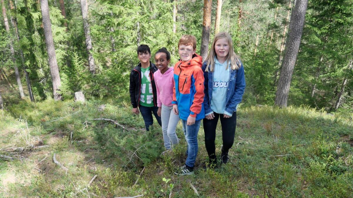 Zakkaria, Luwan, Sondre og Judith fra FIane skole lette etter lemuren Lichi i de første timene mandag morgen.