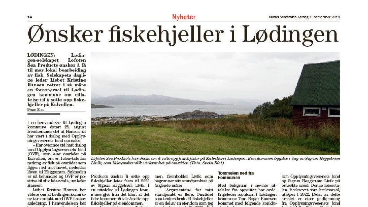 I Bladet Vesterålen lørdag 7. september ble saken omtalt første gang.