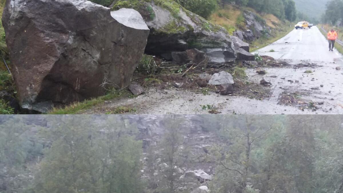 Det er store steiner som har truffet Arabygdvegen. Nederst på bildet ser man stein og masse som har rast ned fra fjellsiden.