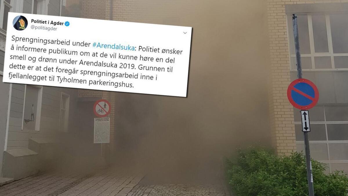 NB – bildet er ikke fra Tyholmen, men fra da en sprengladning gikk av i tunnelen under Fløyheia. Innfelt politiets tweet.