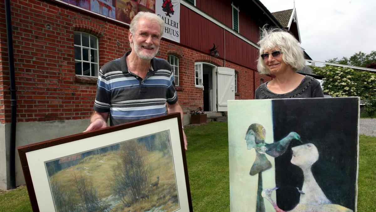 Billedkunstnerne Trine Støren og Jan Petter Bratsberg stiller ut på Galleri Nyhuus fra lørdag.