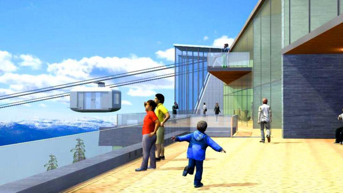 Toppstasjonen på den nye gondolen skal vera på Hangurstoppen, lenger opp enn der toppstasjonen ligg i dag.