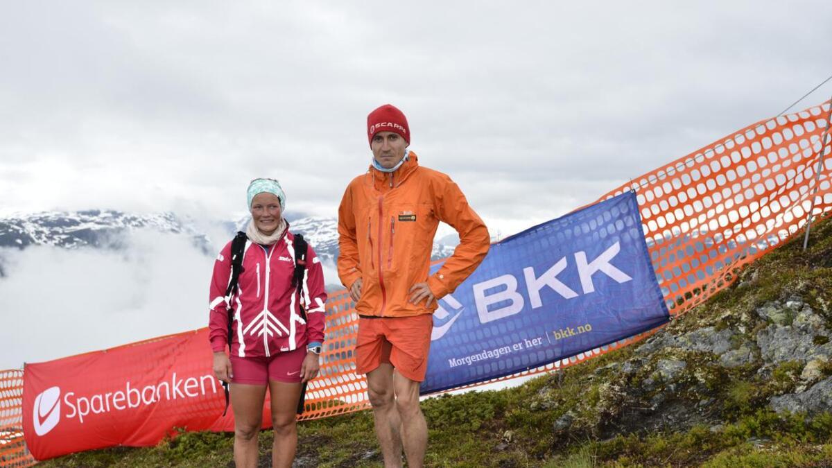 Maren Wangensteen og Lars Erik Skjervheim vart vinnarane av årets Kvasshovden opp.   Pressefoto