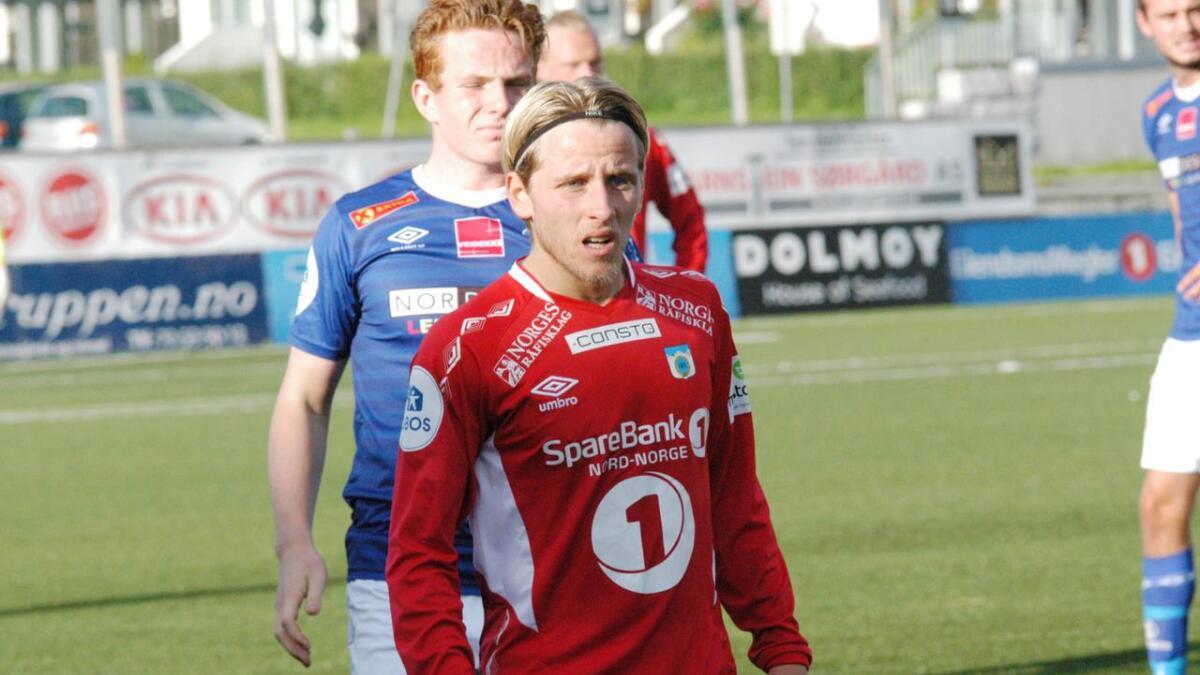 Mathias Dahl Abelsen spilte sin første kamp for Mjølner i helga. Abelsen har tidligere spilt for Sortland IL, Alta og Tromsdalen. På bildet er han i Tromsdalen-drakt.