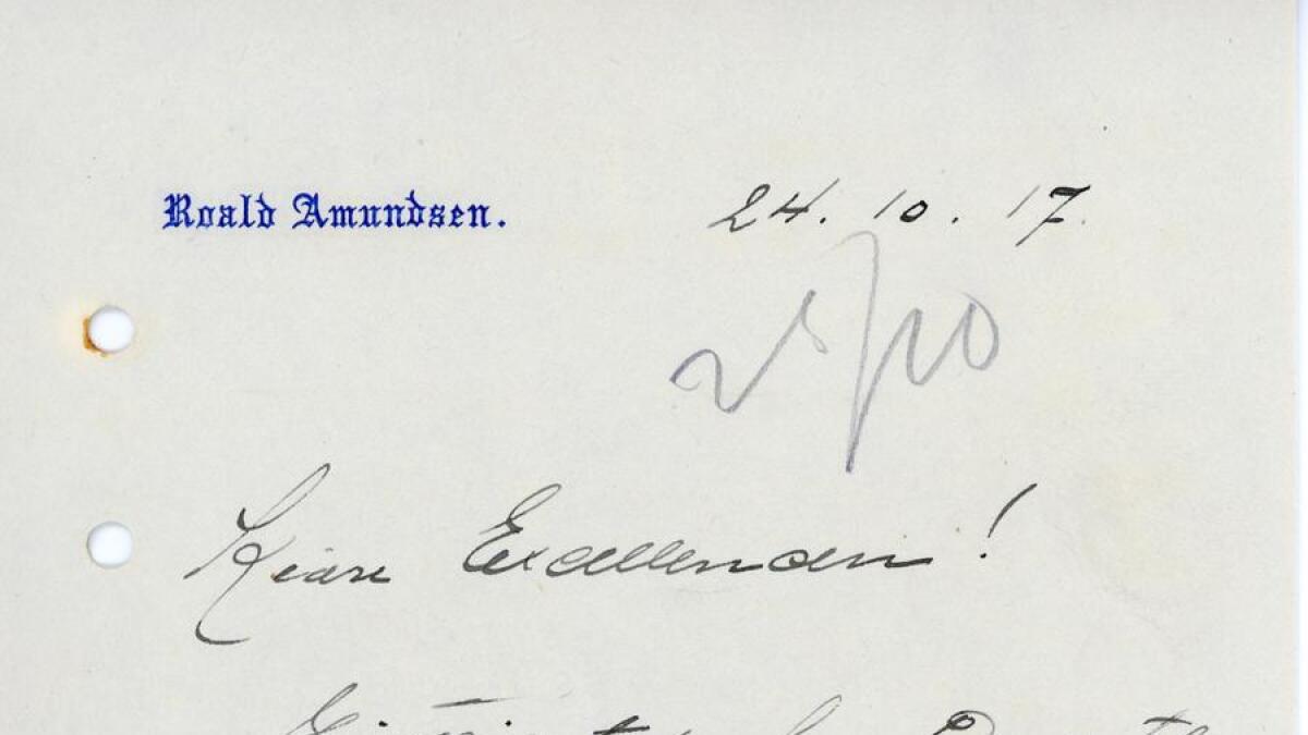 For 100 år siden var Christoffer Hannevig jr. en av landets mest berømte personer, på lik linje med kongefamilien, Fritjof Nansen og Roald Amundsen. I Hannevig-arkivet finner vi avtrykk etter sistnevnte i et brev adressert til «Excellencen». (Arkivref. PA-1158, Hannevig-arkivet