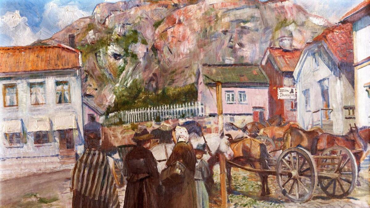Dette maleriet av Christian Krohg, «Torvet i Grimstad», er kjøpt av Grimstad kommune for 100.000 kroner.