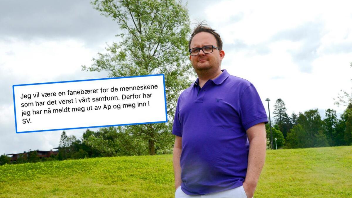 Gjermund Orrego Bjørndahl (37) postet på Facebook lørdag kveld at han har meldt seg ut av Arbeiderpartiet og inn i SV.
