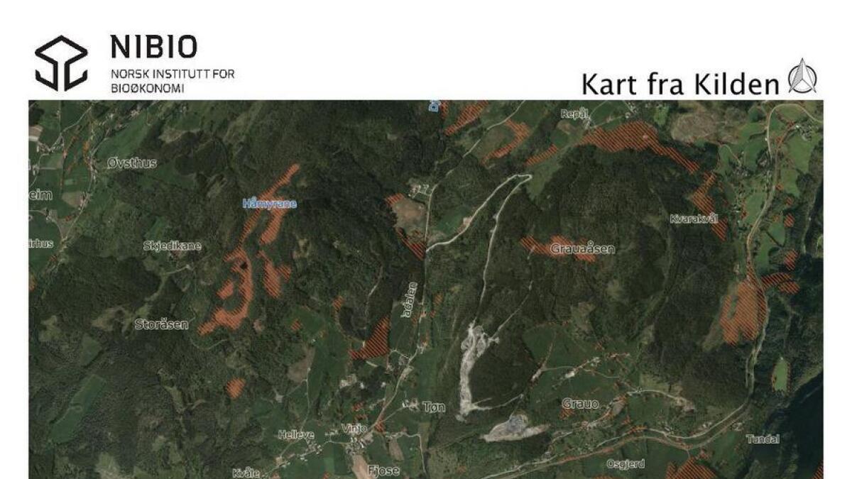Kart som viser dyrkbar jord på Bømoen, utarbeidd ved Norsk institutt for bioøkonomi (NIBIO). Dei brunskraverte felta viser areal som er dyrkbart, men enno ikkje dyrka.