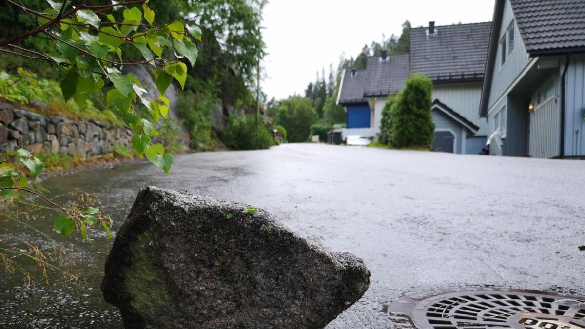 – Jeg så det komme et par steiner utfor skråningen ved parkeringsplassen, sier Bjarte Bjellås i Moskedalen.