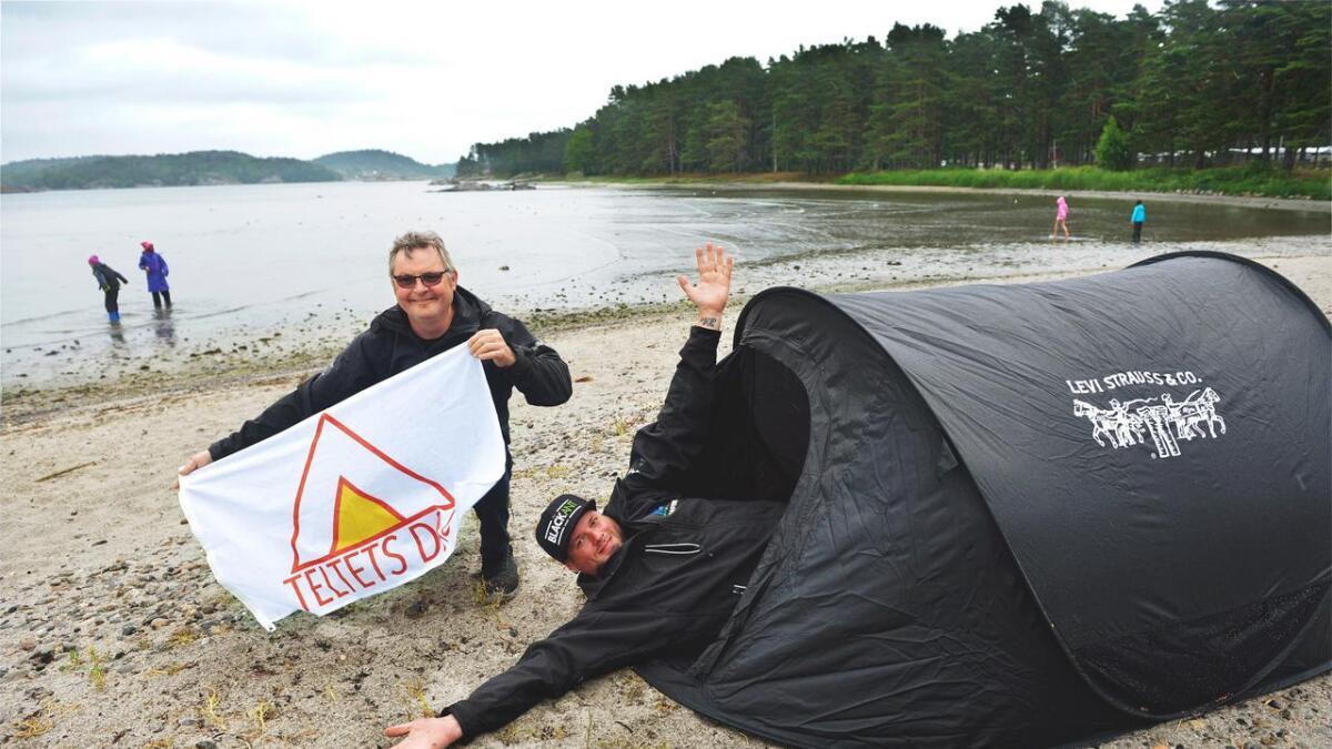 Lørdag kan du telte på stranda
