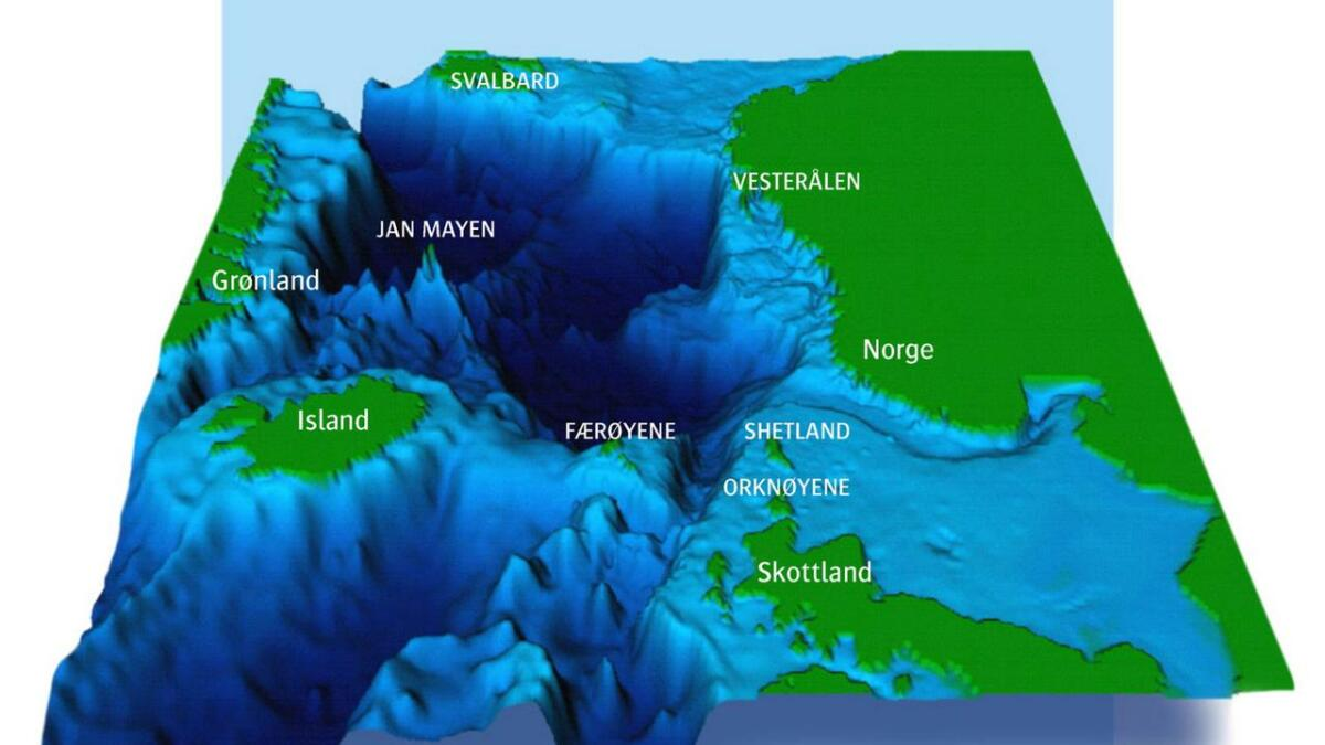 Grafisk illustrasjon av det nordlige Atlanterhavet ved professor emeritus, Bjørn Gjevik, UiO.