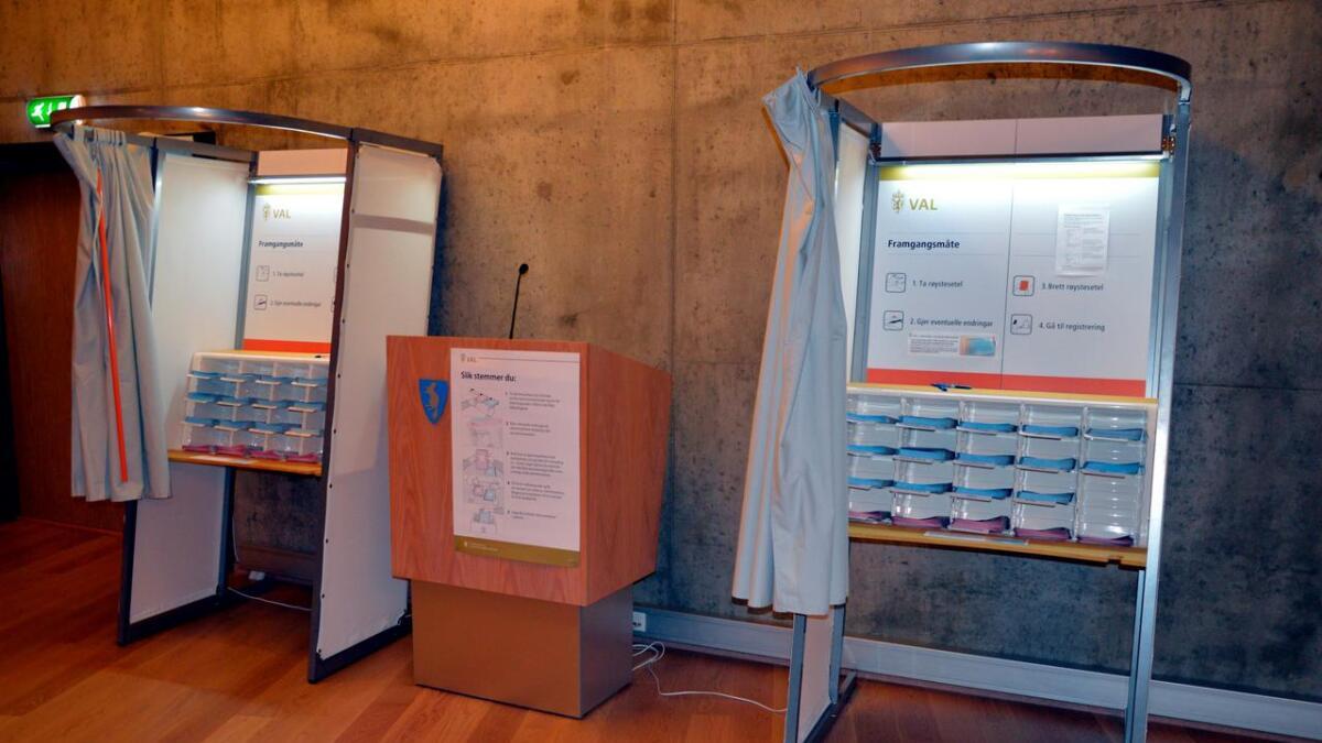 Listeforslagene gir mye å velge i. Her fra Åmli ved valget for  fire år siden.(