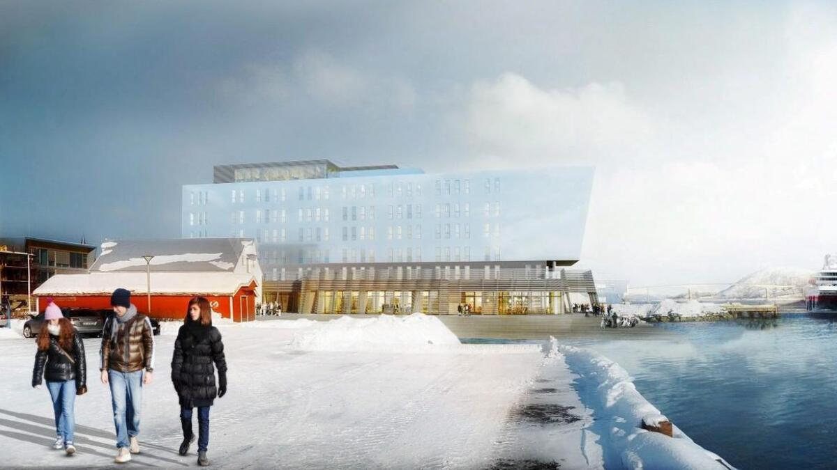 En av flere skisser av det planlagte hotellet i regi av Blåbyen Hotell Eiendom AS. Nå etterlyser Rødt svar på hva som egentlig skjedde da samarbeidet med kommunen og hotellprosjektet kollapset.