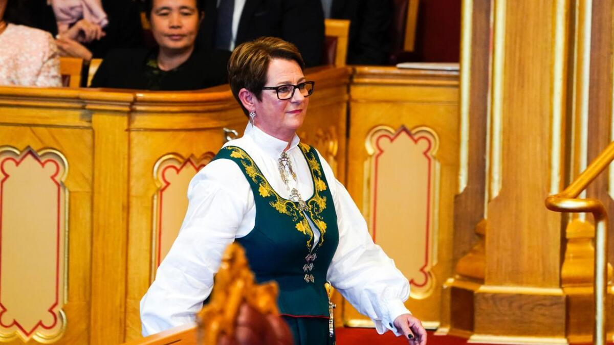 Stortingspresident Tone W. Trøen under åpningen av det 164. Storting.