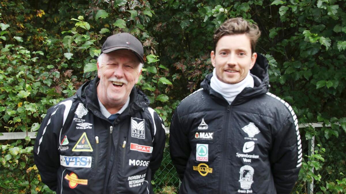 Geir Karstensen og Bjørn Tore Myrvold er mellom dei som står bak når Dale og Stanghelle IL laurdag inviterer til bruktmesse i Turbinen.