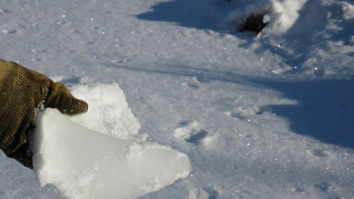 Bredo Våland holder opp en isklump som har falt ned fra en vindturbin på Høgjæren.