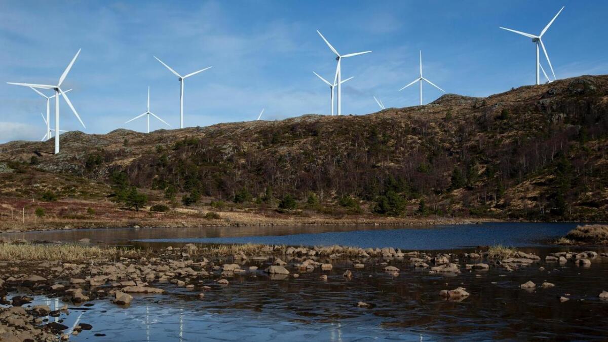 Agder-kommunene ønsker ikke slike vindmøller som her på Midtfjellet Vindpark i Fitjar.