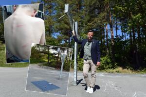 Moren rystet etter farlig uhell på lekeplass: Tung metallplate løsnet