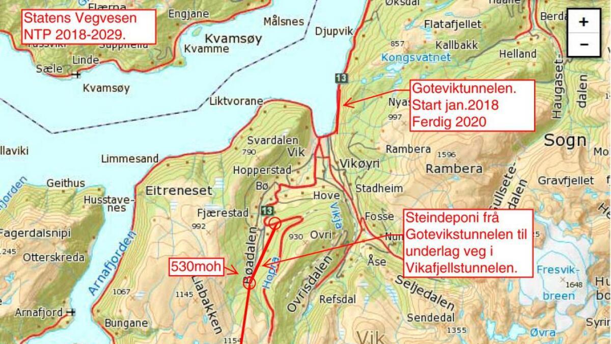 Kartskissa viser planen for tunell gjennom Vikafjellet. Per Olav Opheimshaug meiner at her må det påverkast. – Ein har ikkje ein dag å miste.