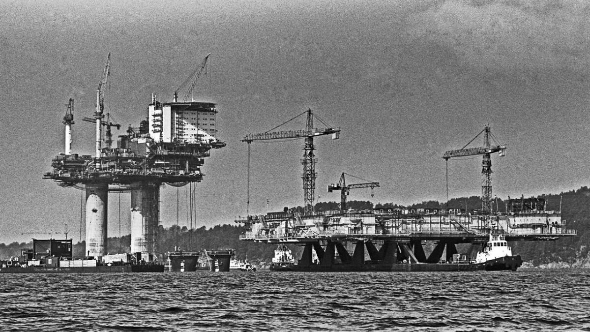 Statfjord A i Digernessundet 1977.