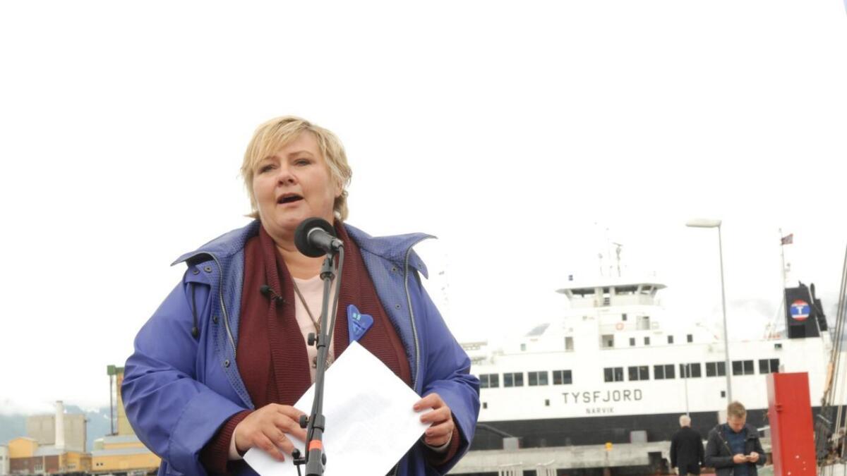 Statsminister Erna Solberg kommer til Vesterålen i helga. (Arkivfoto)