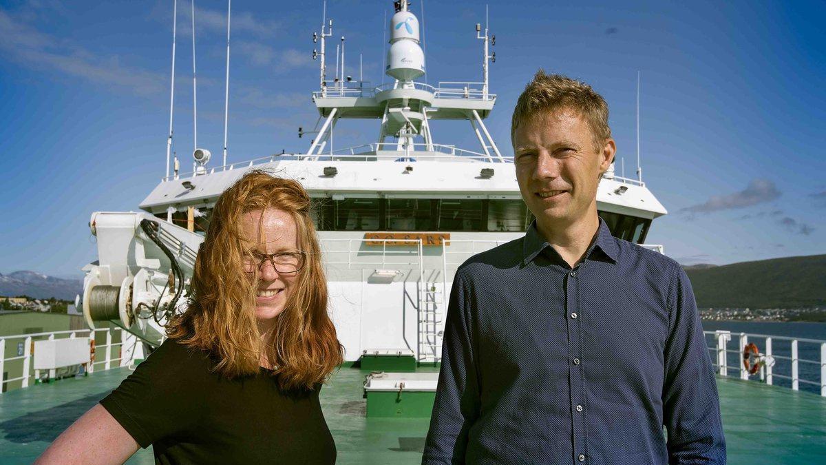 Programleiar Maria Fossheim og forskingssjef Erik Olsen skal begge på økosystemtokt i Barentshavet. (Telst og