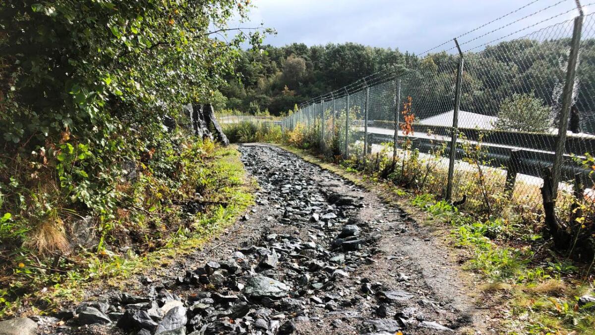Turvegen inn mot Hystadmarkjo frå Valevågen-sida har sett betre dagar.