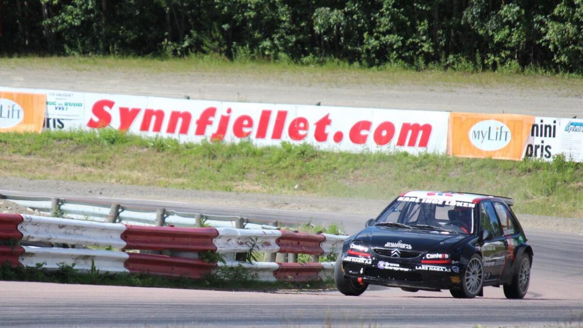 Sindre Biksrud vart nummer fire i NM-runden i rallycross.