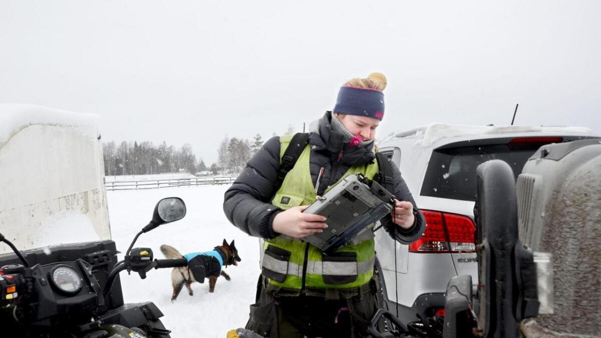 Margit Kjernaas frå Hemsedal og hunden Caysie ute på jobb. Biletet er frå Sarpsborg-distriktet.