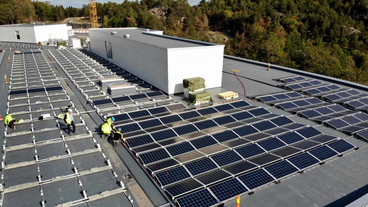 Solcellepaneler monteres på taket av nye Roligheden skole. I alt skal det monteres paneler på 1.900 kvm av takflaten, som skal produsere rundt 300.000 kWh i året - som er like mye strøm som skolebygget forbruker selv til drift og oppvarming.