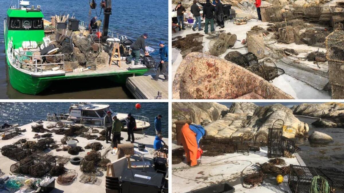158 fiskeredskaper er hentet opp fra sjøen utenfor Saltholmen fyr i Lillesand i løpet av fire dager.