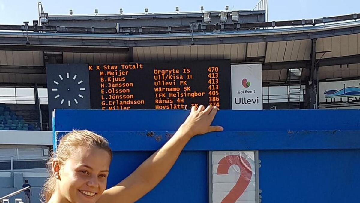 I dag under Världsungdomsspelen i Gøteborg satte Birgitte Kjuus ny personlig rekord på 4,13, noe som endte med andreplass.