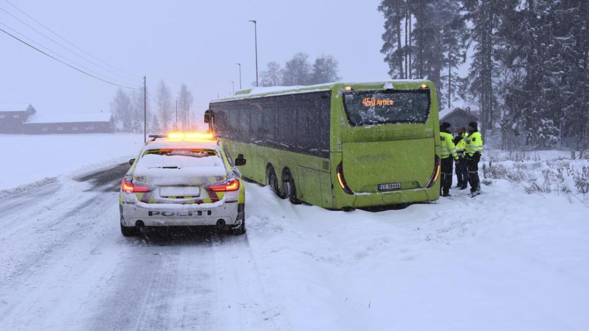 Bussen kom litt for langt ut på siden i snøen, og havnet i grøfta der den tok med seg en lyktestolpe.