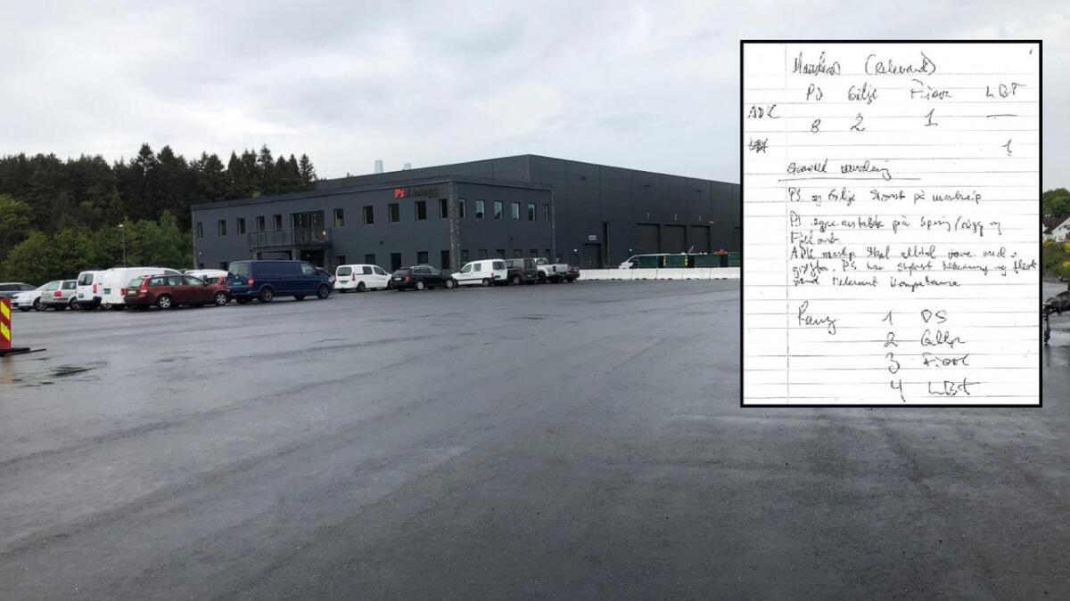 I dette håndskrevne notatet kåres PS Anlegg AS til knepen anbudsvinner. Vurderingen har utløst rundt 40 millioner kroner til det lokale, suksessrike firmaet ved E18 på Vik i Grimstad.