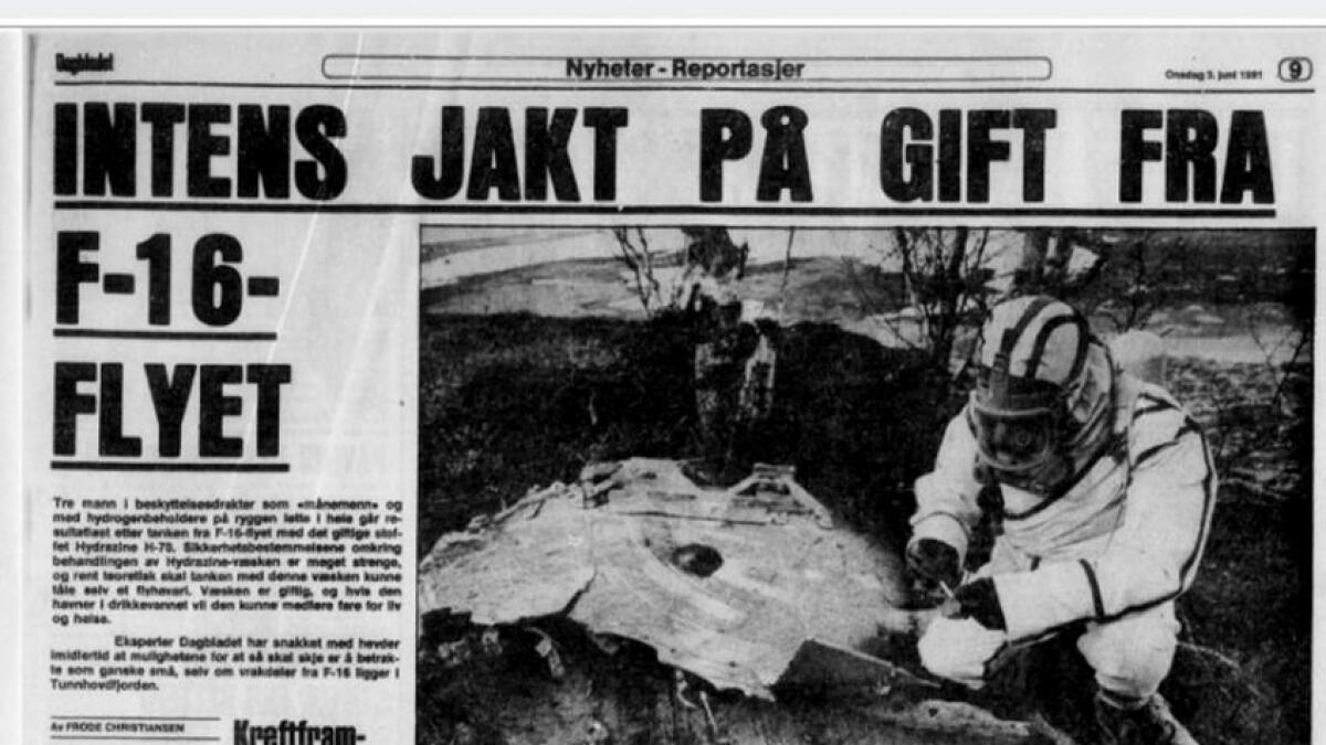 F-16 ulykka ved Tunhovd 2 juni 1981 var det fyrste havariet med flytypen her i landet. Ulykka vekte naturleg nok oppsikt. Her i Dagbladet frå 3. juni 1981 der viklinga var jakta på drivstoffet til naudgeneratoren i flyet. Ulykka førte til betre rutinar for handtering av dette drivstoffet i samband med havari.