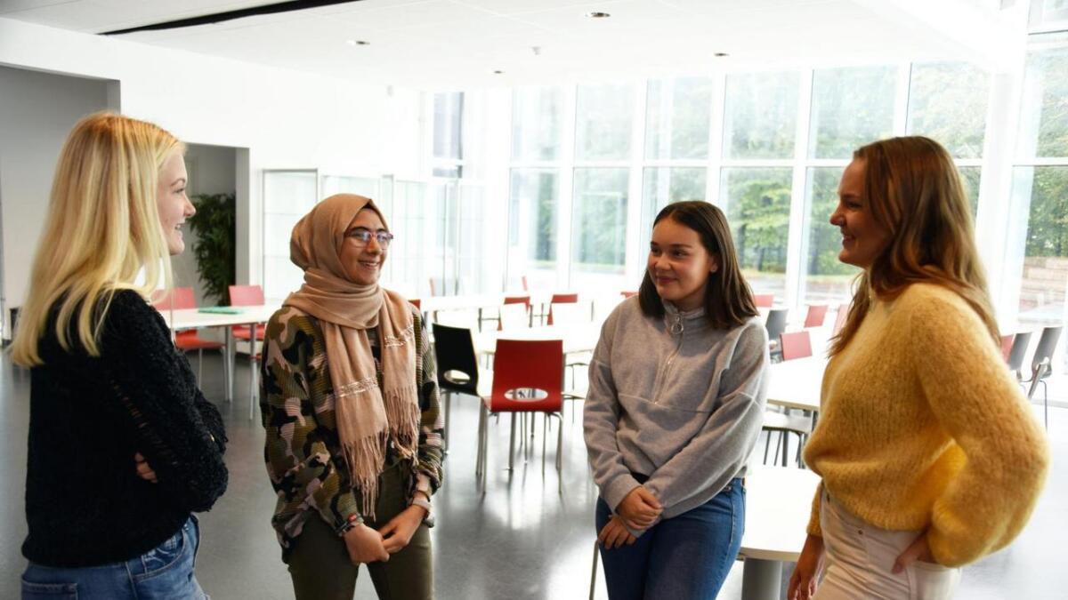 Celine Henriksen, Joudi Omran Alantouz, Julia Moen Pigao og Ina Edelsteen Gaustad er elevrådsrepresentanter for tiendeklassene ved Lillesand ungdomsskole. De er veldig fornøyd med skolen sin, og mener skolemiljøet har mye å si for hvordan elevene presterer. ALLE