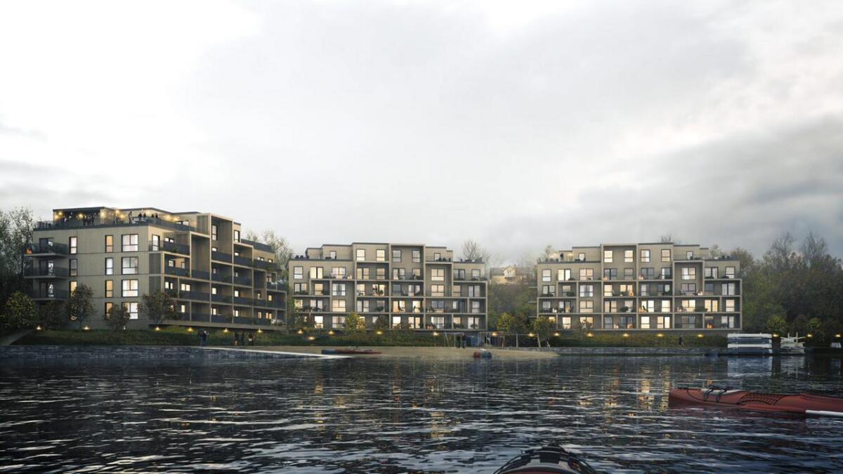 Første trinn med 27 boliger lanseres i slutt av måneden i bygget til høyre på Bugten Brygge.ILL