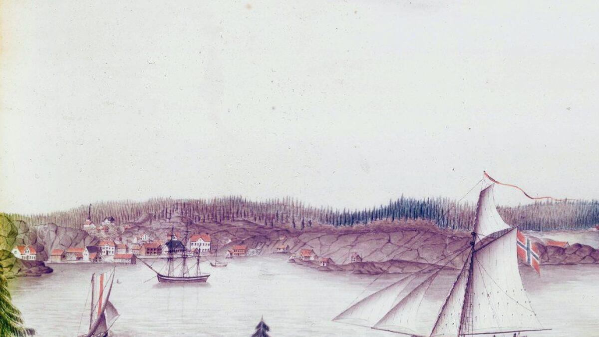 Helt til venstre ser vi Skrivergården i Lillesand. Dette er det eldste kjente bildet av huset kjøpmann og seddelutsteder Niels Møller fikk bygd i 1810. Til høyre kan vi for øvrig se Ole Olsen-huset, hvor Kristian Lofthus ble arrestert i 1787. Øverst skimtes Vestre Moland kirke og Stenersens hus på Møglestu. Utsnitt fra prospektet «Lillesand, Møglestue, Tingsager», tegnet av Mogens Moe i 1823. Lillesand by- og sjøfartsmuseum.